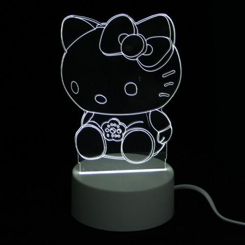 Επιτραπέζιο 3D Φωτιστικό LED σε Σχήμα Hello Kitty (Άσπρο)