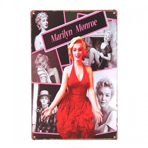 Μεταλλική Διακοσμητική Πινακίδα Τοίχου Marilyn Monroe Red Dress 20X30 (Design)