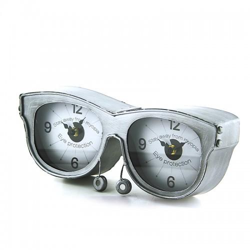 Μεταλλικό Διακοσμητικό Επιτραπέζιο Ρολόι σε Σχήμα Γυαλιά (Ασημί)