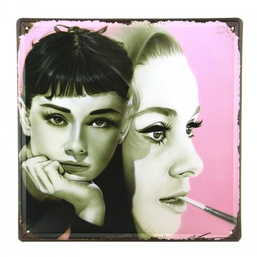 Μεταλλική Διακοσμητική Πινακίδα Τοίχου Audrey Hepburn 30X30 (Design)