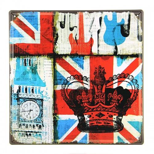Μεταλλική Διακοσμητική Πινακίδα Τοίχου Big Ben Crown 30X30 (Design)