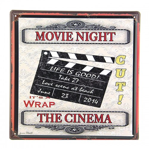 Μεταλλική Διακοσμητική Πινακίδα Τοίχου Movie Night - The Cinema 30X30 (Design)