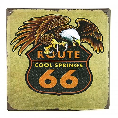 Μεταλλική Διακοσμητική Πινακίδα Τοίχου Route 66 - Cool Springs 30X30 (Design)