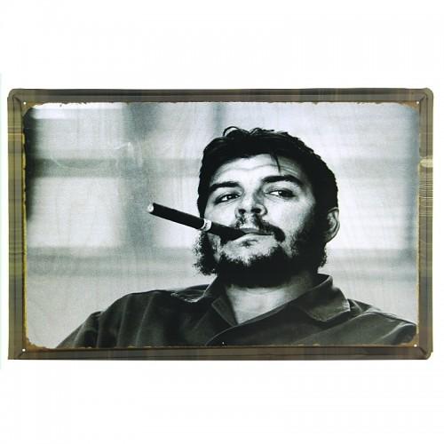 Μεταλλική Διακοσμητική Πινακίδα Τοίχου Che Guevara Smoking 40X60 (Design)