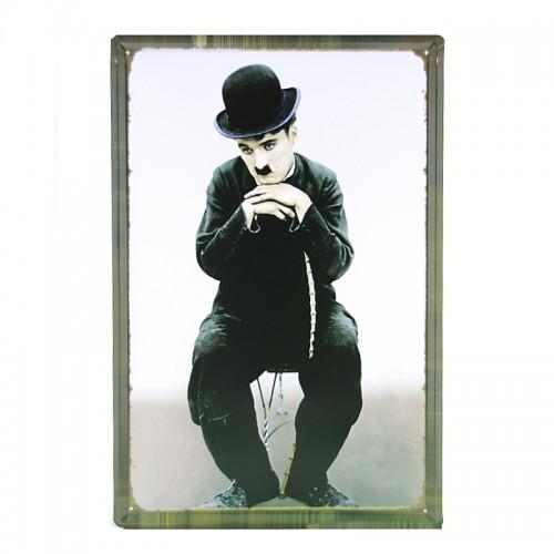Μεταλλική Διακοσμητική Πινακίδα Τοίχου Charlie Chaplin 40X60 (Design)