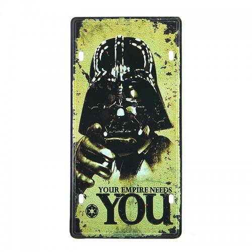 Μεταλλική Διακοσμητική Πινακίδα Τοίχου Darth Vader Empire 15X30 (Design)