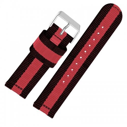 Ανταλλακτικό Λουράκι OEM Υφασμάτινο με Nato Strap για Samsung Gear S3 22mm (Κόκκινο - Μαύρο)