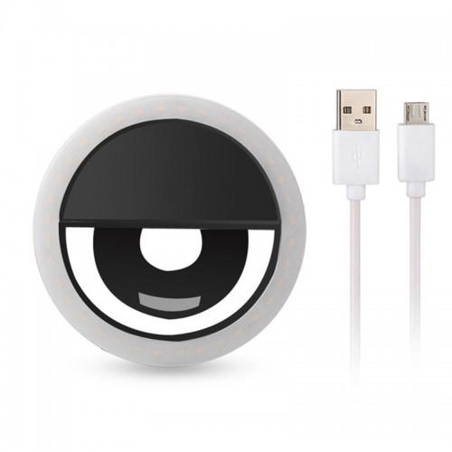 Selfie Ring Light για Smartphone με καλώδιο Micro Usb (Μαύρο)
