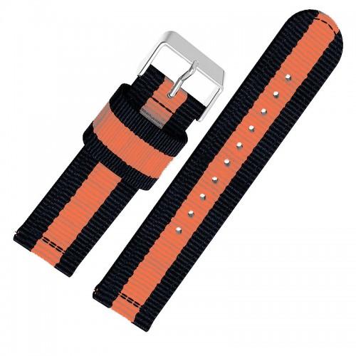 Ανταλλακτικό Λουράκι OEM Υφασμάτινο με Nato Strap για Samsung Gear S3 22mm (Μαύρο-Πορτοκαλί)