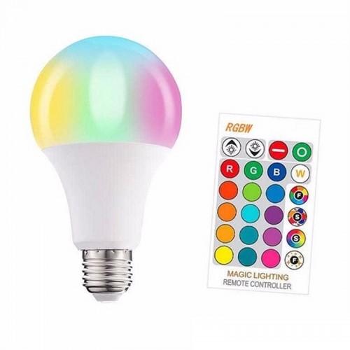 Ασύρματη Πολύχρωμη Έξυπνη Λάμπα LED RGBW E27 5W με Τηλεχειριστήριο (Άσπρο)