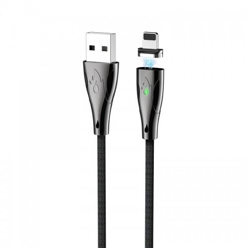Καλώδιο σύνδεσης Hoco U75 Magnetic USB σε Lightning 3.0A 1.2m με Μαγνητικό Αποσπώμενο Βύσμα και LED Ένδειξη (Μαύρο)