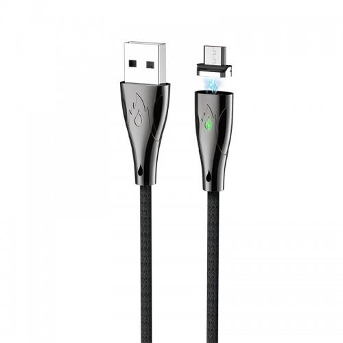 Καλώδιο σύνδεσης Hoco U75 Magnetic USB σε Micro USB 3.0A 1.2m με Μαγνητικό Αποσπώμενο Βύσμα και LED Ένδειξη (Μαύρο)