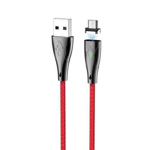 Καλώδιο σύνδεσης Hoco U75 Magnetic USB σε Micro USB 3.0A 1.2m με Μαγνητικό Αποσπώμενο Βύσμα και LED Ένδειξη (Κόκκινο)