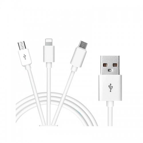 Καλώδιο TREQA 3-in-1 CA-841 Micro / Lightning / Type-C to USB 1.2m (Άσπρο)
