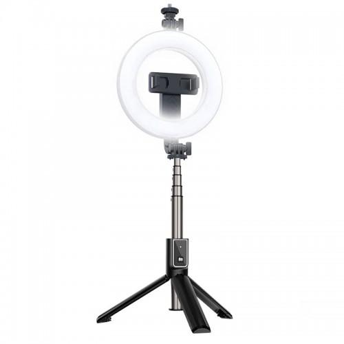 Selfie Stick με LED Ring Light 15cm 6'' (Μαύρο)