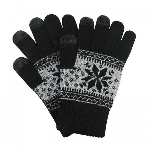 Γάντια για Οθόνες Αφής με Σχέδιο Χιονονιφάδα (Μαύρο)