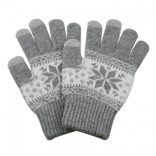 Γάντια για Οθόνες Αφής με Σχέδιο Χιονονιφάδα (Άσπρο-Γκρι)