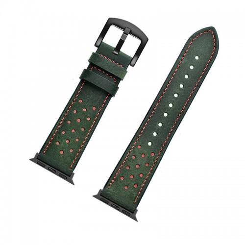 Ανταλλακτικό Λουράκι OEM Δερμάτινο με Nato Strap για Apple Watch 42/44 mm (Πράσινο-Κόκκινο)