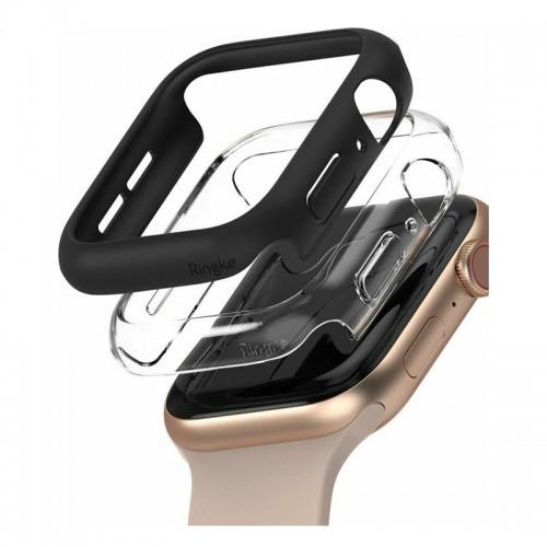 Θήκη Ringke Slim Case 2-Pack για Apple Watch SE/6/5/4 44mm (Μαύρο-Διαφανές)