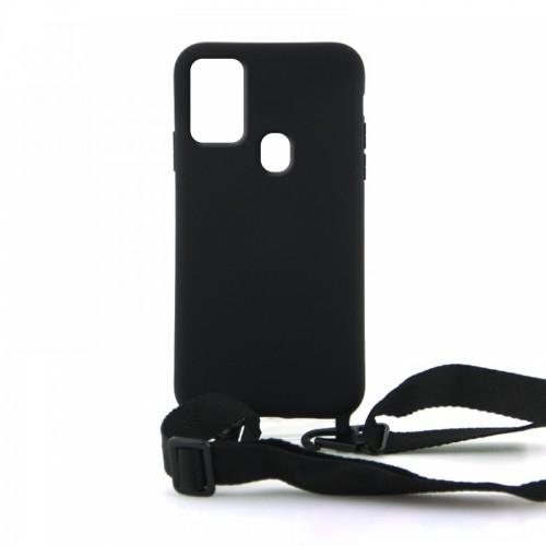 Θήκη OEM Σιλικόνης Matte Back Cover με Λουράκι για Samsung Galaxy A21s (Black)