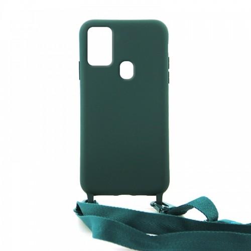 Θήκη OEM Σιλικόνης Matte Back Cover με Λουράκι για Samsung Galaxy A21s (Casal Green)