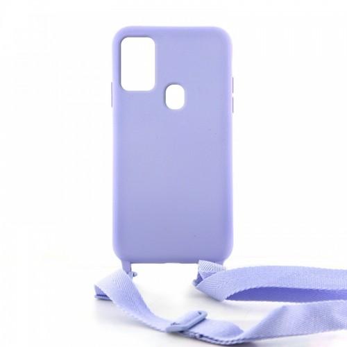 Θήκη OEM Σιλικόνης Matte Back Cover με Λουράκι για Samsung Galaxy A21s (Lilac Purple)