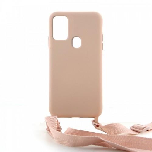 Θήκη OEM Σιλικόνης Matte Back Cover με Λουράκι για Samsung Galaxy A21s (Pale Pink)