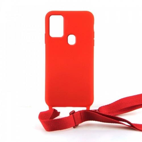 Θήκη OEM Σιλικόνης Matte Back Cover με Λουράκι για Samsung Galaxy A21s (Red)