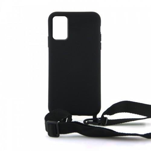 Θήκη OEM Σιλικόνης Matte Back Cover με Λουράκι για Samsung Galaxy A71 (Black)