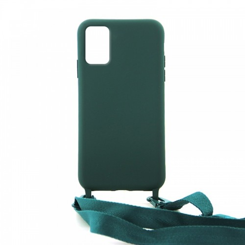 Θήκη OEM Σιλικόνης Matte Back Cover με Λουράκι για Samsung Galaxy A71 (Casal Green)