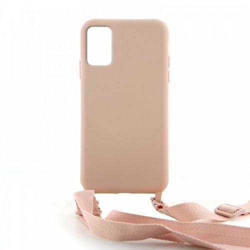 Θήκη OEM Σιλικόνης Matte Back Cover με Λουράκι για Samsung Galaxy A51 (Pale Pink)