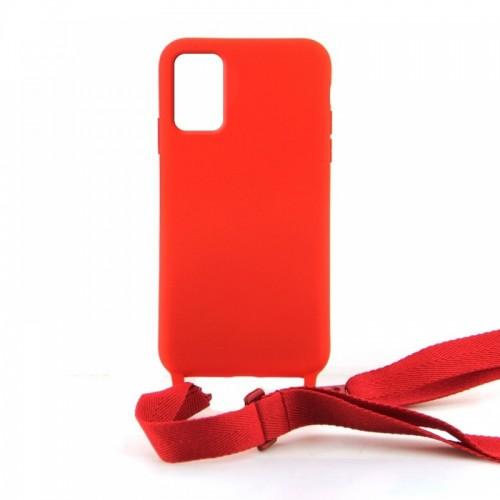 Θήκη OEM Σιλικόνης Matte Back Cover με Λουράκι για Samsung Galaxy A71 (Red)