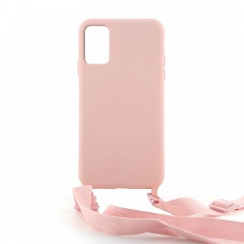 Θήκη OEM Σιλικόνης Matte Back Cover με Λουράκι για Samsung Galaxy A51 (Salmon)