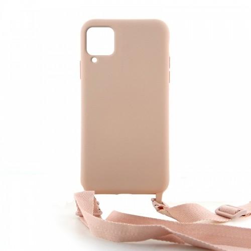 Θήκη OEM Σιλικόνης Matte Back Cover με Λουράκι για Samsung Galaxy A42 (Pale Pink)