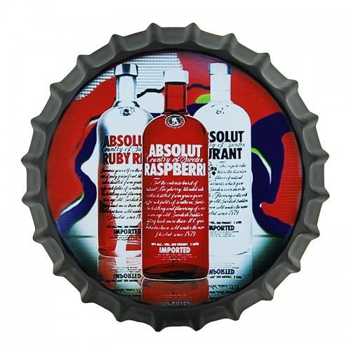 Μεταλλικό Διακοσμητικό Τοίχου Καπάκι Absolut Three Bottles (Design)