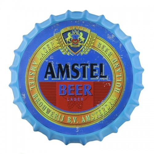 Μεταλλικό Διακοσμητικό Τοίχου Καπάκι Amstel Blue (Design)