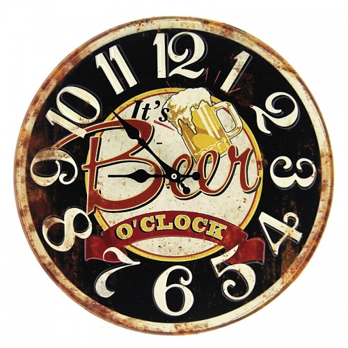 Μεταλλικό Ρολόι Τοίχου It's Beer O'clock (Μαύρο)
