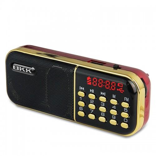 Ασύρματο Φορητό Ηχείο MP3 BKK B837 με FM Radio 3W (Κόκκινο - Μαύρο)