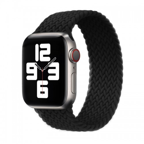 Ανταλλακτικό Λουράκι Σιλικόνης OEM Braided Solo Loop για Apple Watch 42/44mm (138mm) (Black)