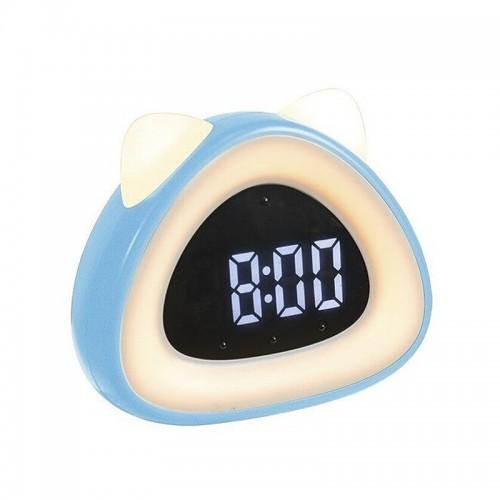 Ρολόι Ξυπνητήρι LED σε Σχήμα Γάτας (Γαλαζιο)