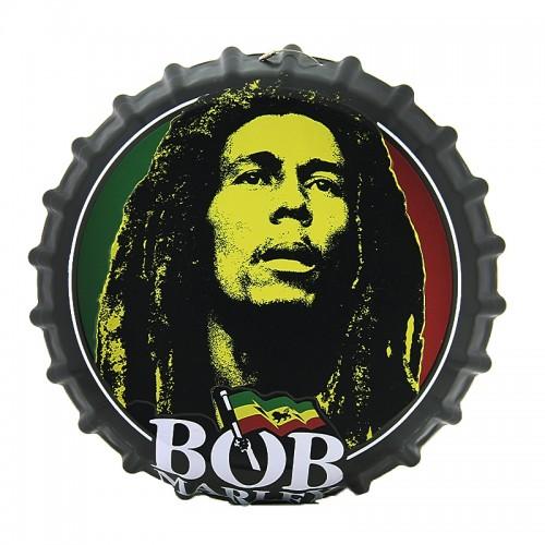 Διακοσμητικό Τοίχου Καπάκι Bob Marley (Μαύρο)