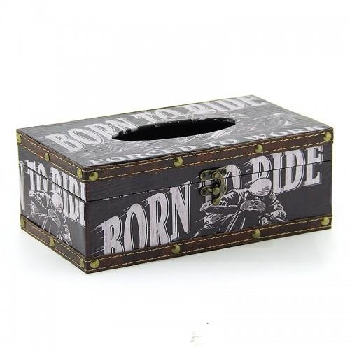 Ξύλινο Κουτί για Χαρτομάντηλα Born to Ride (Design)
