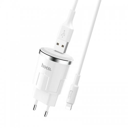 Φορτιστής Hoco C37A με καλώδιο Lightning 2.4A (Άσπρο)