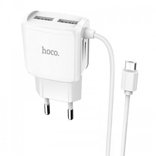 Φορτιστής Hoco C59A με καλώδιο Micro Usb 2.4A (Άσπρο)