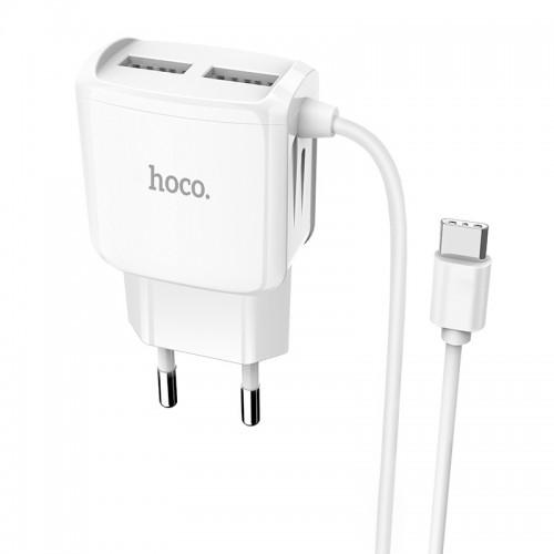 Φορτιστής Hoco C59A με καλώδιο Type C 2.4Α (Άσπρο)