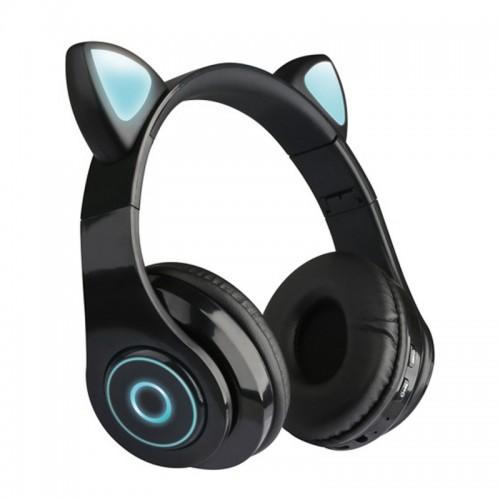 Ασύρματα Αναδιπλώμενα Ακουστικά CAT LX-B39A με LED Φωτισμό (Μαύρο)
