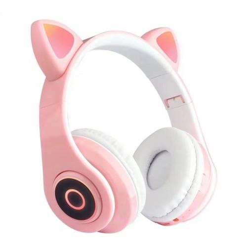 Ασύρματα Αναδιπλώμενα Ακουστικά CAT LX-B39A με LED Φωτισμό (Ροζ)