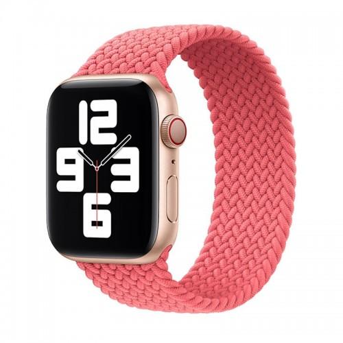 Ανταλλακτικό Λουράκι Σιλικόνης OEM Braided Solo Loop για Apple Watch 42/44mm (145mm) (Coral)
