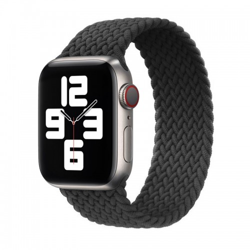 Ανταλλακτικό Λουράκι Σιλικόνης OEM Braided Solo Loop για Apple Watch 42/44mm (138mm) (Dark Grey)