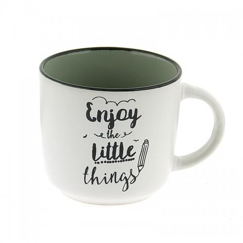Κούπα Enjoy The Little Things 420ml (Άσπρο-Γκρι)
